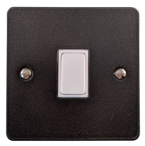 G&H FP5W Flat Plate Pewter 1 Gang Intermediate Rocker Light Switch